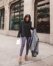 sweater,black sweater,leggings,skinny pants,pumps,high heel pumps,jacket,handbag,aviator sunglasses