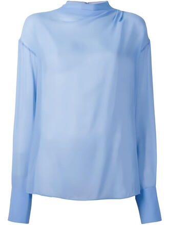 blouse sheer blouse sheer blue top