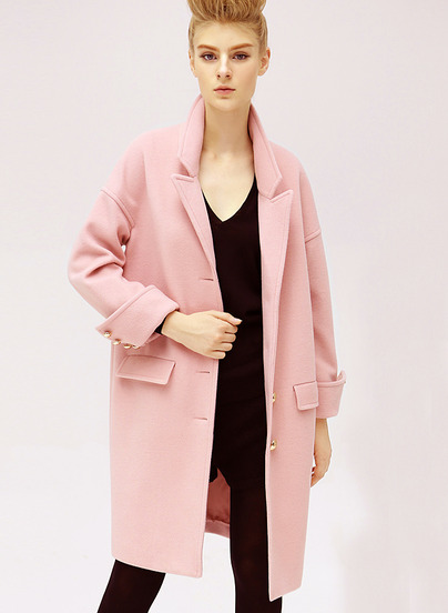 Long Sleeve Lapel Oversized Cocoon Coat - Sheinside.com