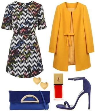 skinny hipster blogger jewels bag saint laurent mustard earrings heart clutch heels shoes dress coat