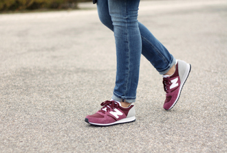 shoes burgundy new balance sneakers high purple jeans