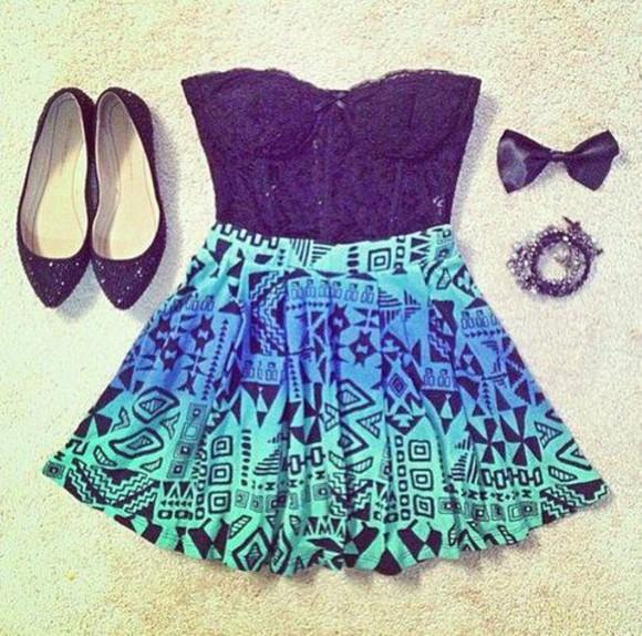 skirt blue skirt aztec shoes dress