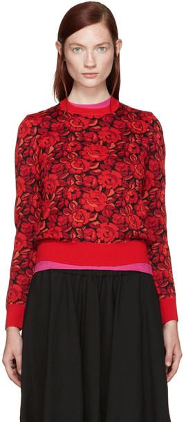 Comme Des Garçons Red Wool Floral Sweater