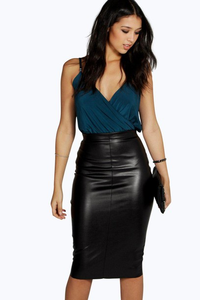 Skirt: leather skirt, black skirt, black leather skirt, boohoo ...