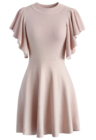 dress pastel pink knitted skater dress with frilling sleeves、 pink dress skater dress chicwish