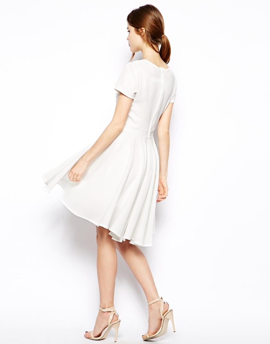 ASOS Skater Dress with Full Skirt and Dipped Hem at asos.com