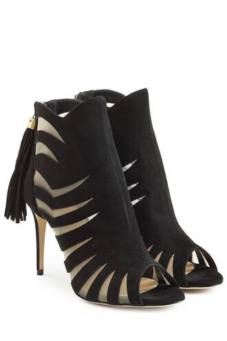 cut-out mesh sandals suede black shoes