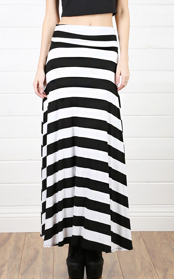 s23292 black white striped maxi skirt and shop apparel at