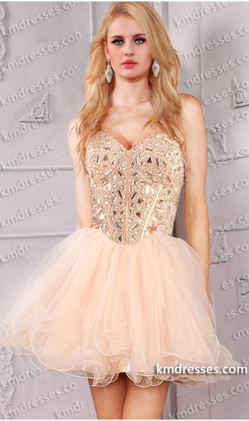 Sparkly strapless sweetheart rhinestone bodice beaded short tulle dress