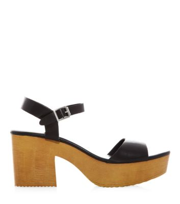 Black open toe ankle strap wooden block heel sandals