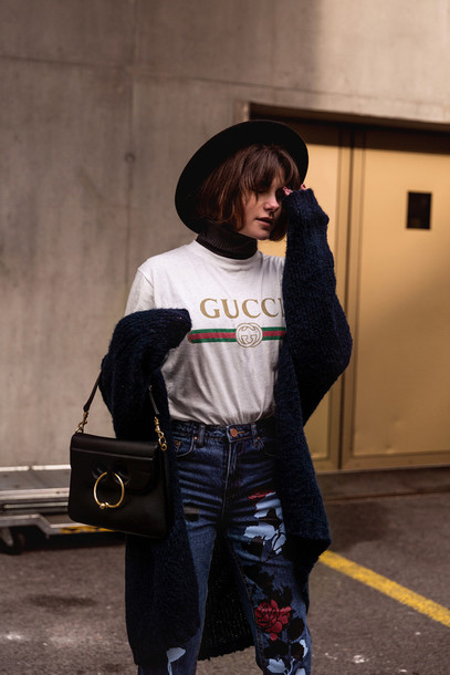 7bc7d9b03f4 jeans tumblr embroidered jeans embroidered floral t-shirt gucci white t- shirt cardigan black