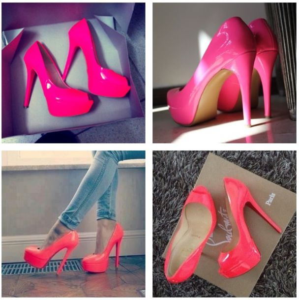 shoes neon pink pink heels high heels