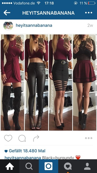 burgundy draped draped dress leather pants caged skater skirt mesh top thigh high boots crop tops fall outfits