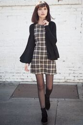 dress,plaid dress,grunge,grey dress