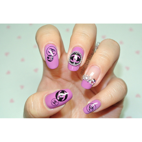 nail polish decoration diy manicure pedicure purple symbol chanel dior diamonds gliter nail accessories nail art louis vuitton stickers decals nails