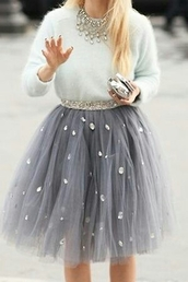 grey,tulle skirt,gemstone,PLL Ice Ball