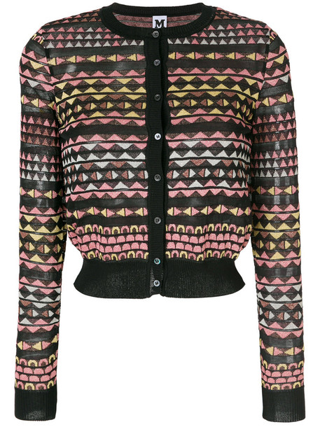 M Missoni cardigan cardigan metallic women cotton black sweater