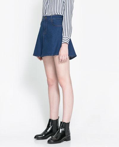 2cd70d85f FALDA DENIM SKATER - Mini - Faldas - Mujer