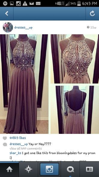 dress brown prom detail wedding party date outfit dinner birthday rhinestones diamonds long glamgerous