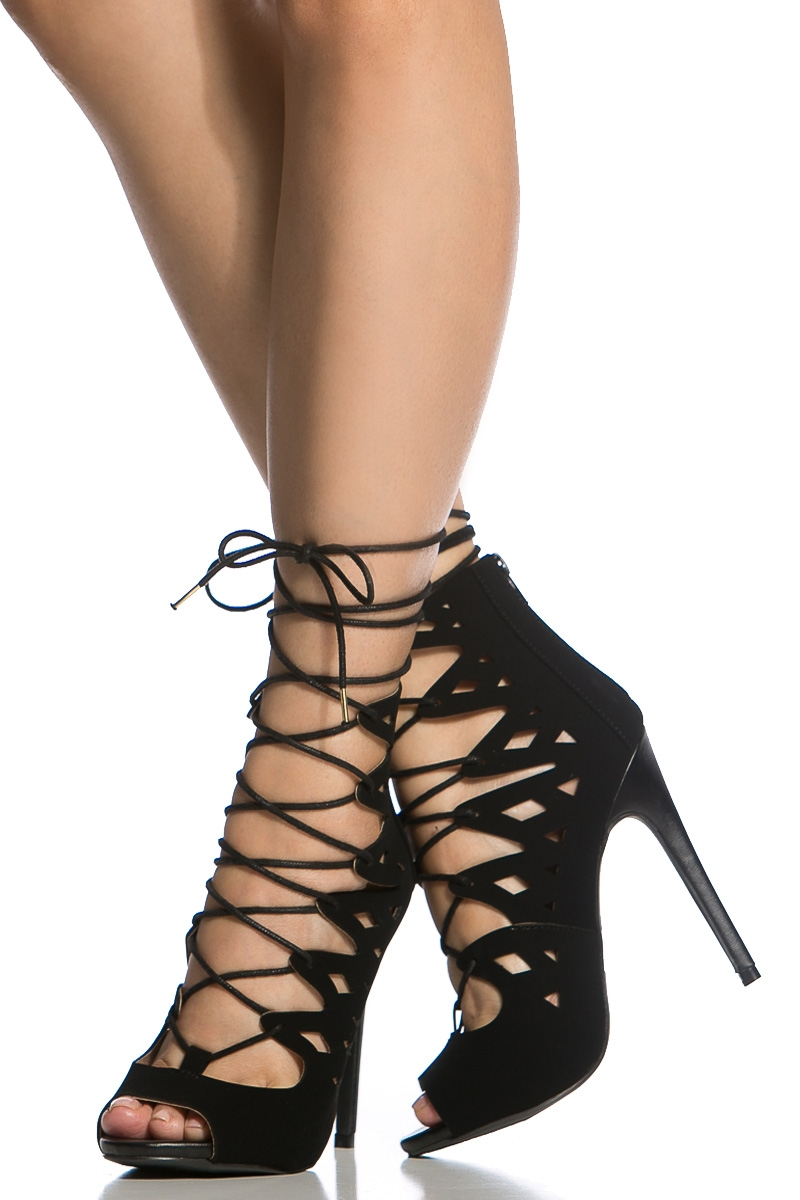 Black Faux Nubuck Lace Up Peep Toe Heels @ Cicihot Heel Shoes online store sales:Stiletto Heel ...