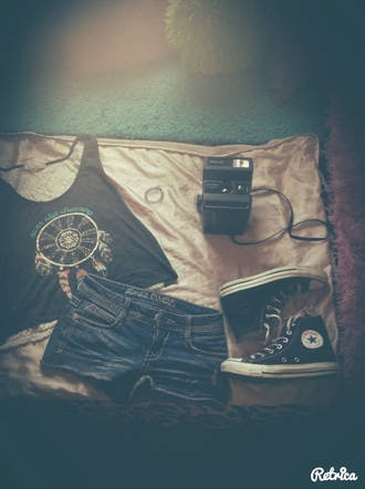 shorts rue21 shorts tumblr outfit converse dreamcatcher shirt