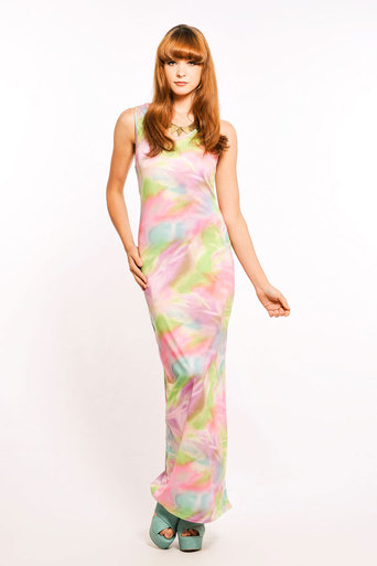Ladies Vova Tie Dye Maxi Dress In Pink | Pop Couture