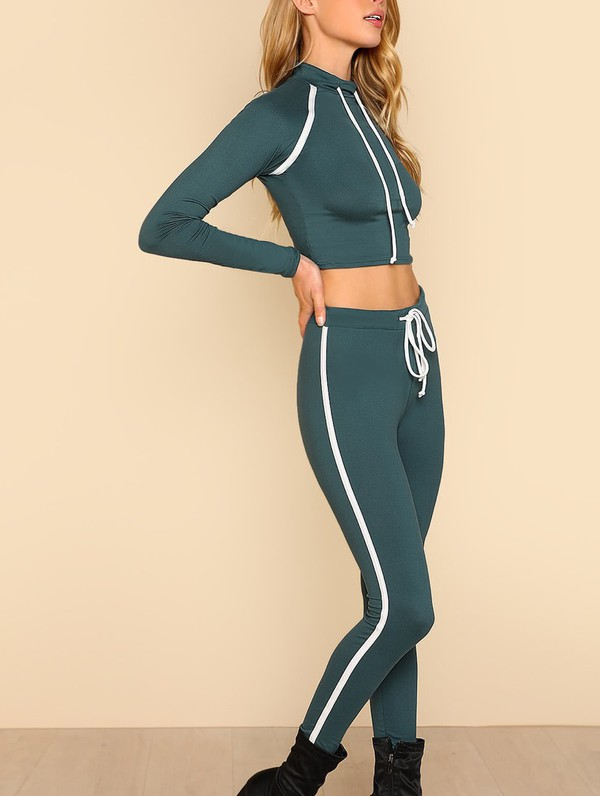 jumpsuit girly two-piece matching set leggings crop tops crop cropped
