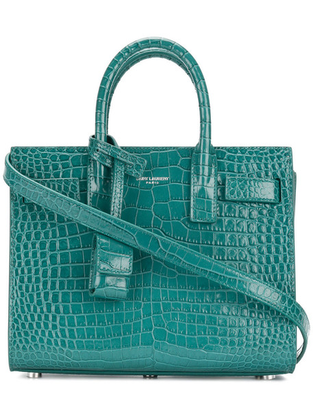 Saint Laurent mini women leather green bag