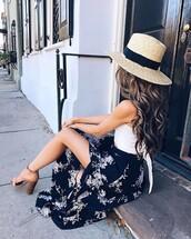 skirt,tumblr,blue skirt,floral,floral skirt,maxi skirt,long skirt,wrap skirt,top,white top,crop tops,white crop tops,hat,sun hat,sandals,sandal heels,high heel sandals,spring outfits