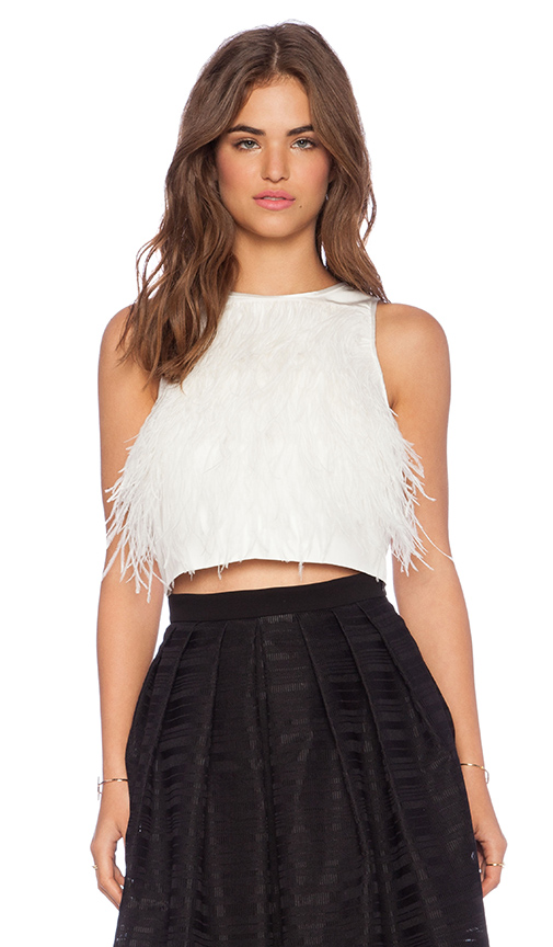 Tibi feather crop tank in ivory from revolveclothing.com