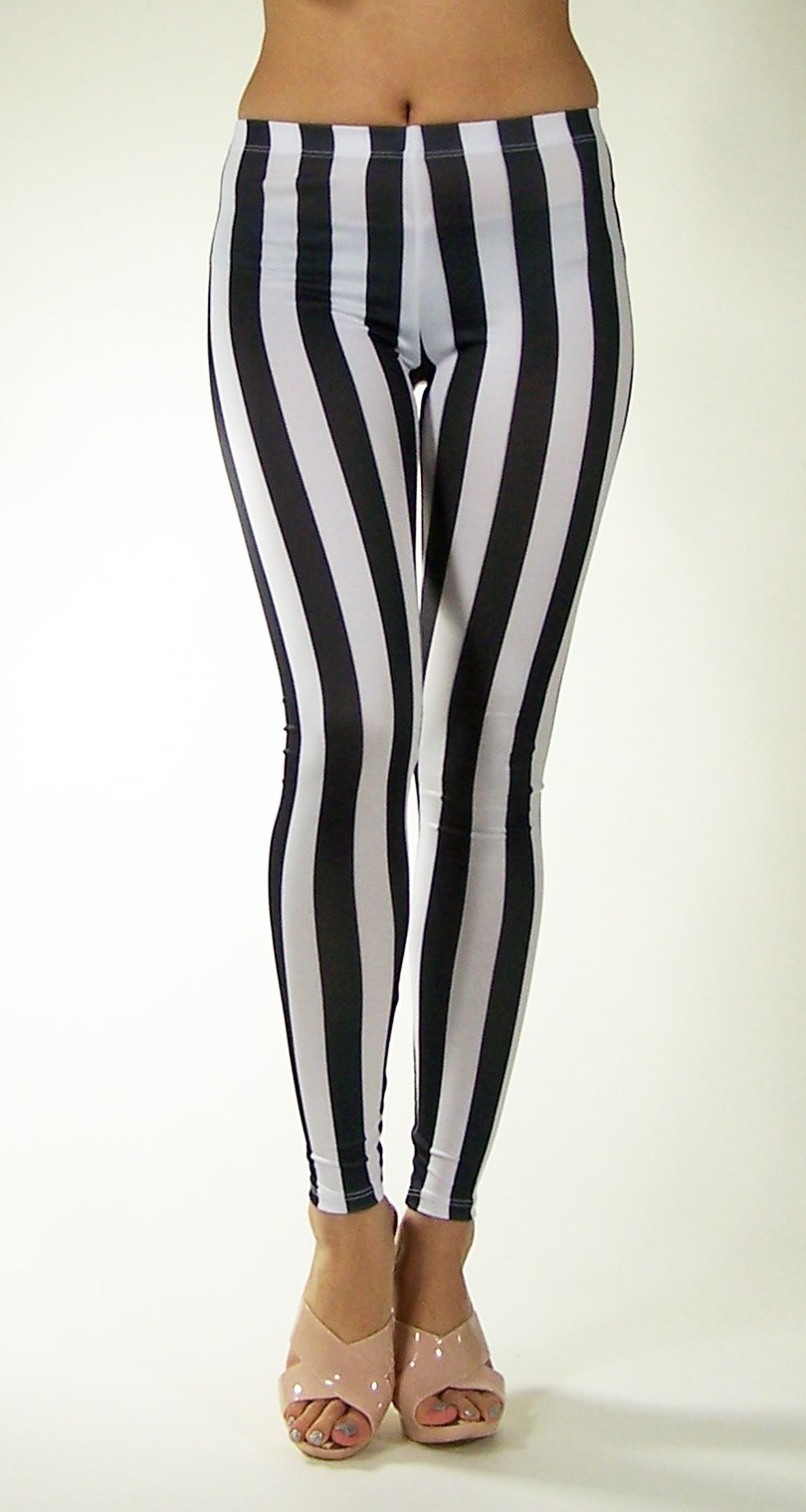 Sexy Women Leggings Black White Vertical Stripe Zebra Stretchy Tights Pants | eBay