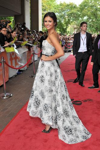 dress multicolor dress black and white dress nina dobrev high heels the vampire diaries