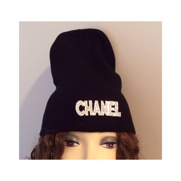 tumblr girl chanel chanel inspired black silver style tumblr black and white white hat beanie sexy fashion winter swag sexy