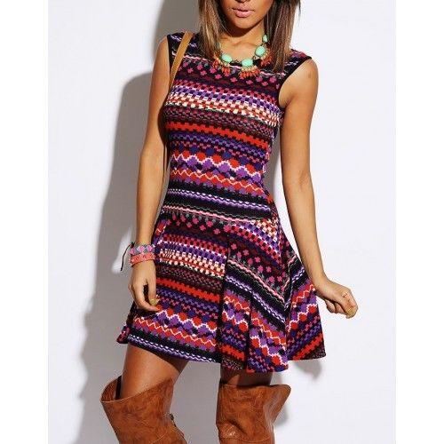Classy Ethnic Print Multi Colored A Line Fashion Skater Dress SML   eBay
