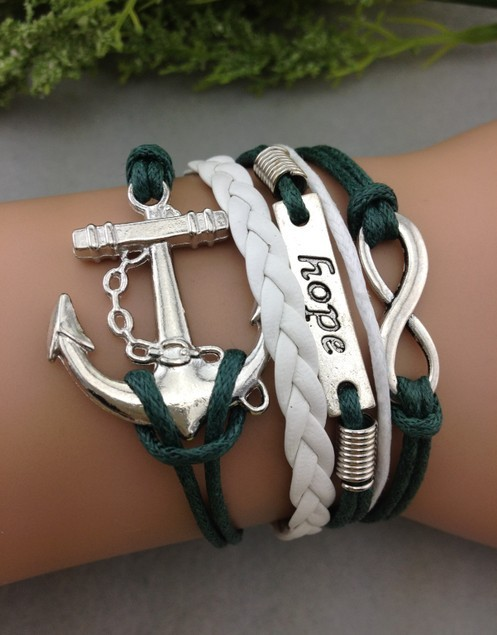 3pcs Anchor,Hope & Infinity Charm Bracelet  Antique Silver  Wax Cords and Imitation Leather Bracelet     1243  Mini order 10$-in Charm Bracelets from Jewelry on Aliexpress.com