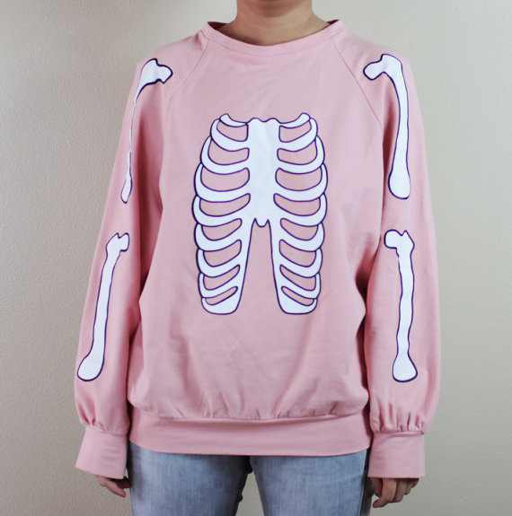 Skeleton halloween sweater (pastel pink)