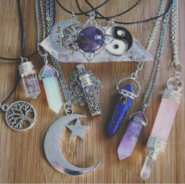 jewels goth moon sun stars stone tree necklace yin yang yin yang moon necklace tree necklace sun necklace stone necklace ying yang necklace star necklace necklace violet light blue dark blue