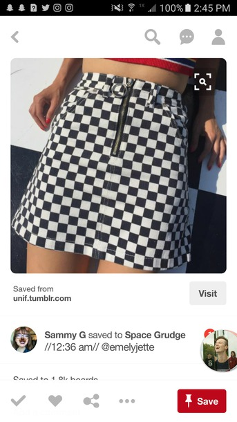 skirt black and white b&w checked shirt checkered