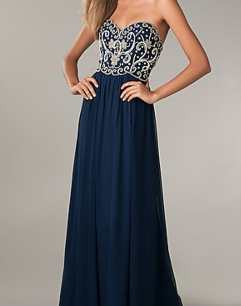 dress prom navy navy blue prom dress long prom dresses pretty elegant ...