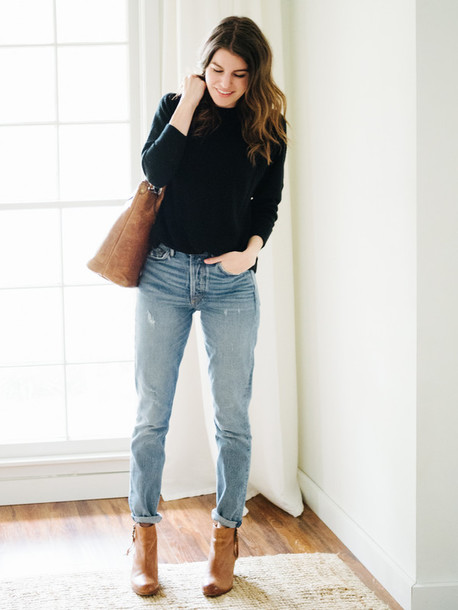 Sweater: tumblr, black sweater, bag, brown bag, tote bag, denim ...