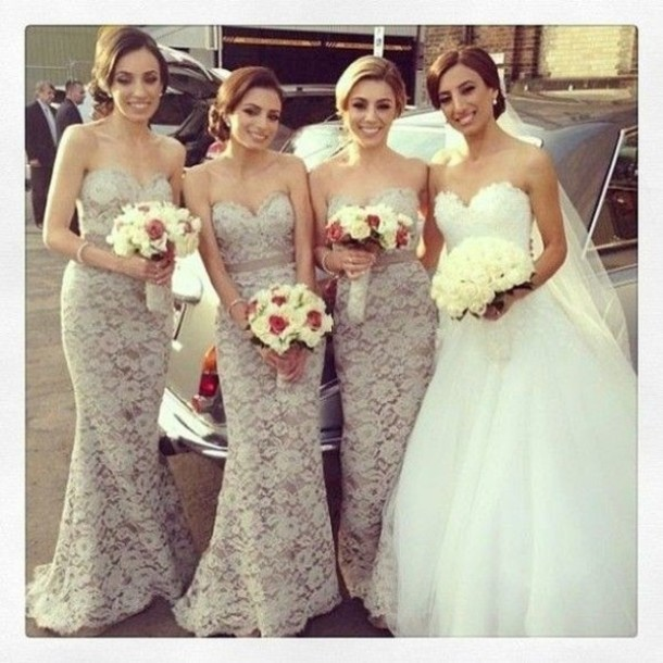 2014 nueva llegada de sirena encaje gris de vestidos de dama de honor de largo hasta el piso de la boda en de en Aliexpress.com