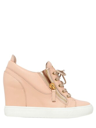sneakers leather wedge sneakers nude shoes