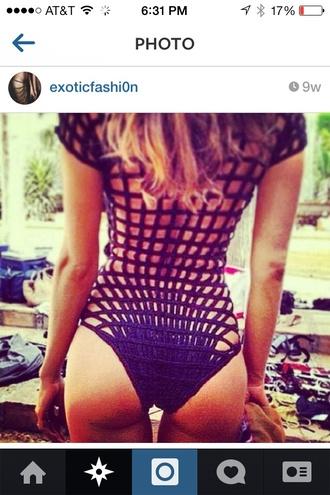 swimwear short sleeve black bikini lattice back one piece swimsuit mesh see through