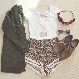 shorts cute floral flowered shorts cardigan