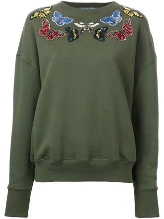 sweatshirt embroidered women cotton grey sweater
