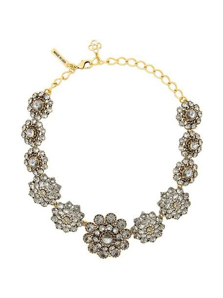 oscar de la renta women necklace grey metallic jewels