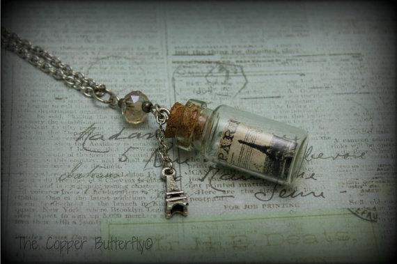 Postcards From Paris - The Bottle Collection Necklace - Tibetan Silver Eiffel Tower Charm & Vintage Paris Mini Postcard in a Bottle -6140075