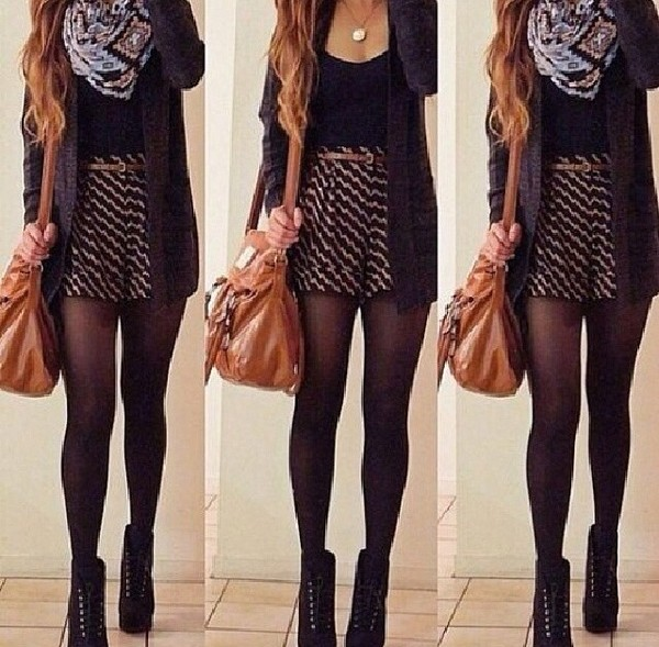 bag cardigan skirt shoes stockings scarf sweater underwear shirt belt jewels coat