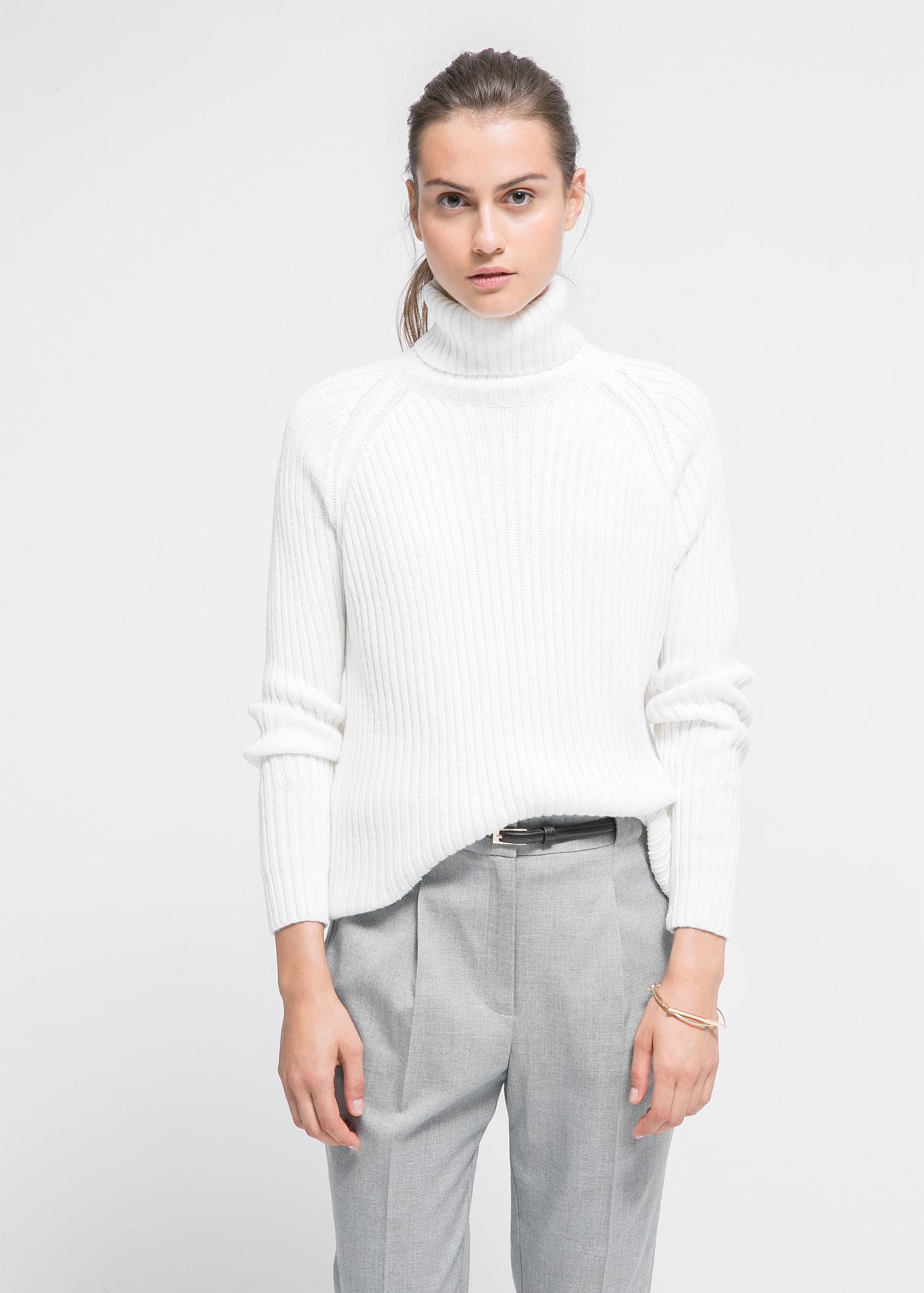 Gerippter pullover aus woll-mix - Cardigans und pullover für Damen | MANGO
