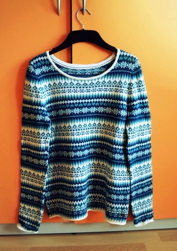 sweater fall sweater christmas sweater blue white autumn/winter fashion fall outfits
